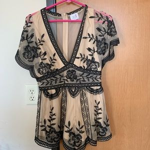 Nude and Black Lace Romper Red Dress Boutique